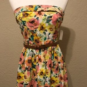 NWT Strapless Floral Dress